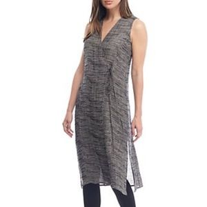 Eileen Fisher Organic Linen V-Neck Wrap Dress XL